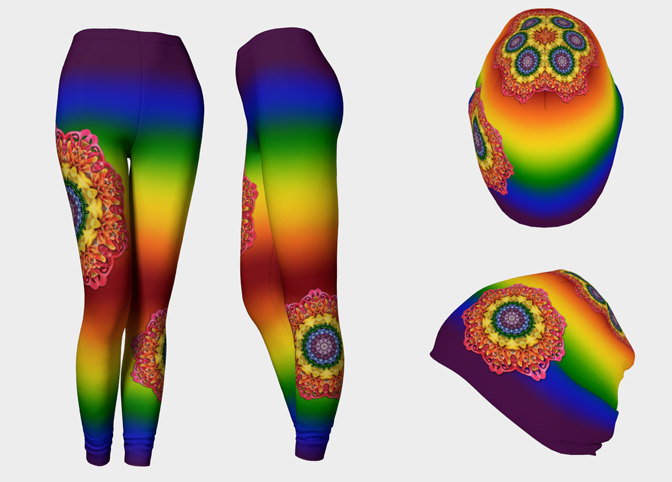 "Leggings and beanie design from ""LoveWins."""